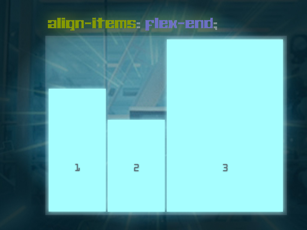 align-items: flex-end; 1 2 3