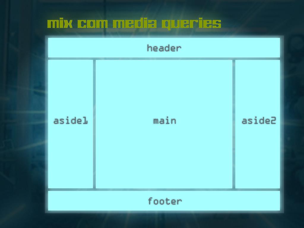 mix com media queries header main footer aside1...