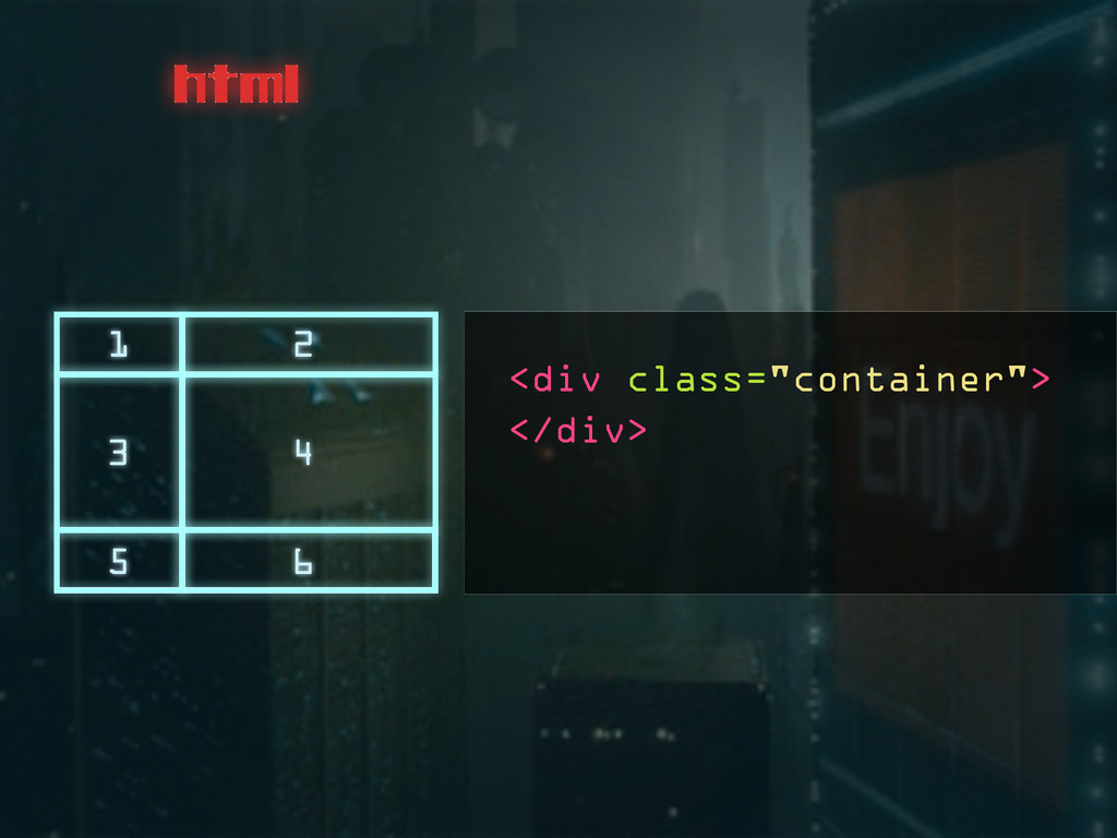 """<div class=""""container""""> html 1 2 3 4 5 6 </div>"""