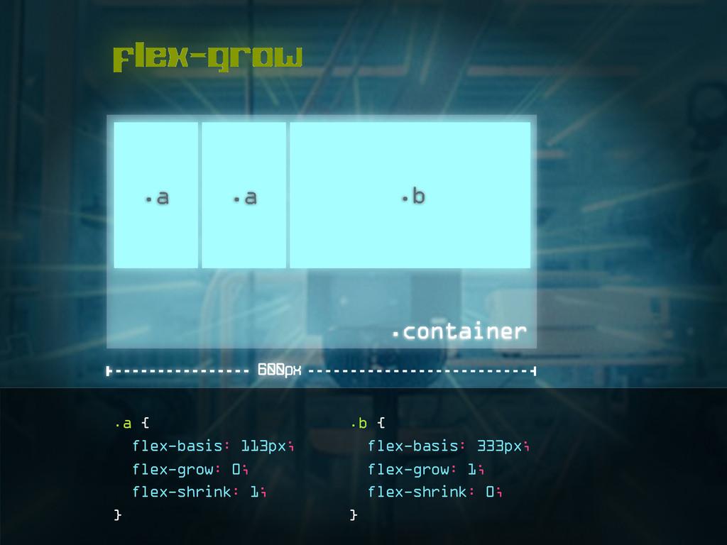 flex-grow .a .a .b .a { flex-basis: 113px; flex...