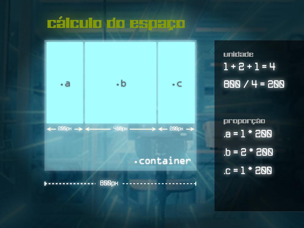 cálculo do espaço .a .b .container 800px .c 1 +...