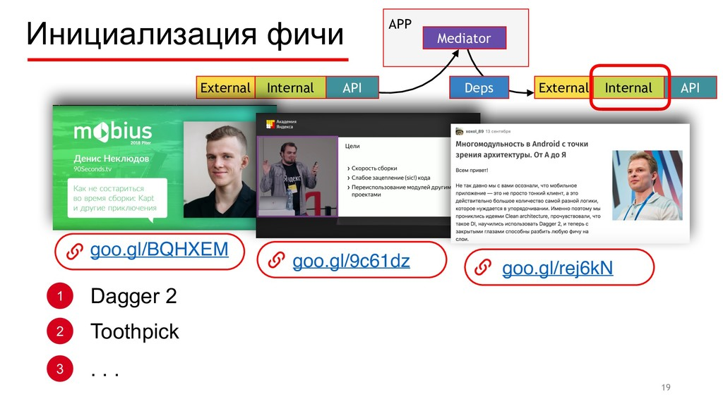 Инициализация фичи 19 External Internal API APP...