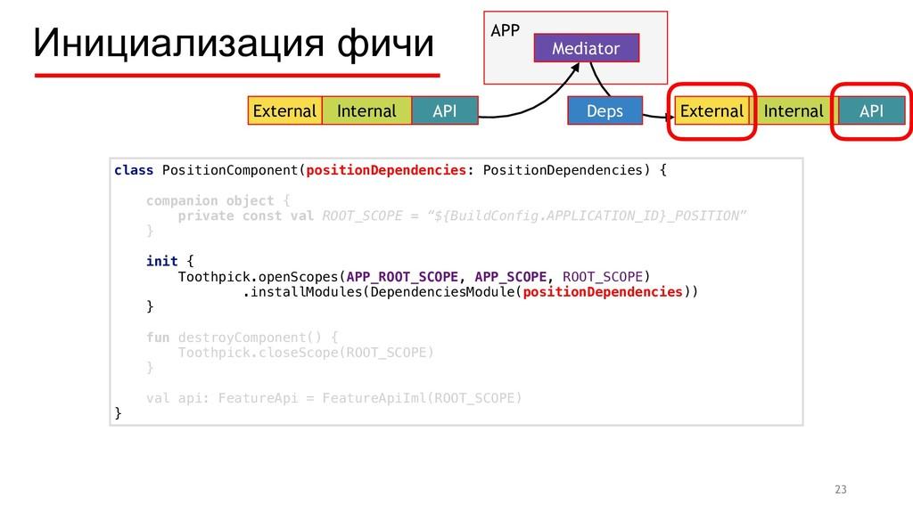 Инициализация фичи 23 External Internal API APP...