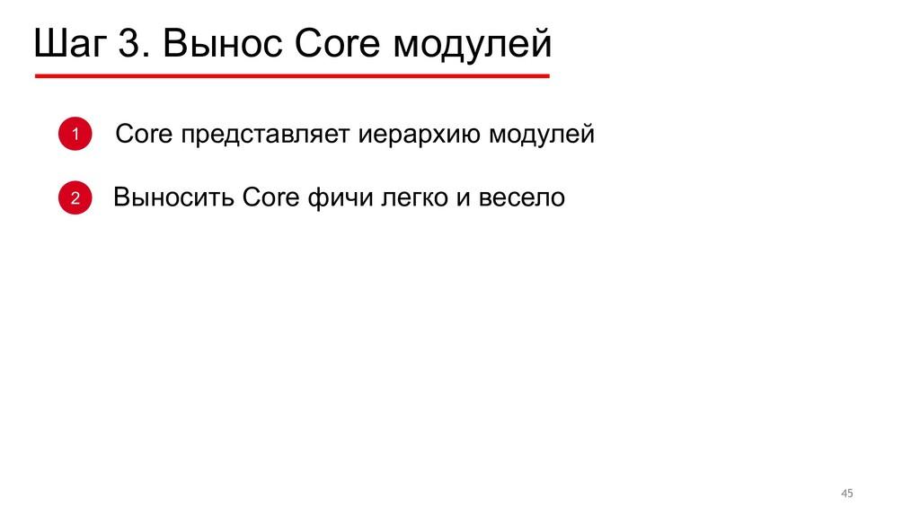 Шаг 3. Вынос Core модулей 45 1 Выносить Core фи...