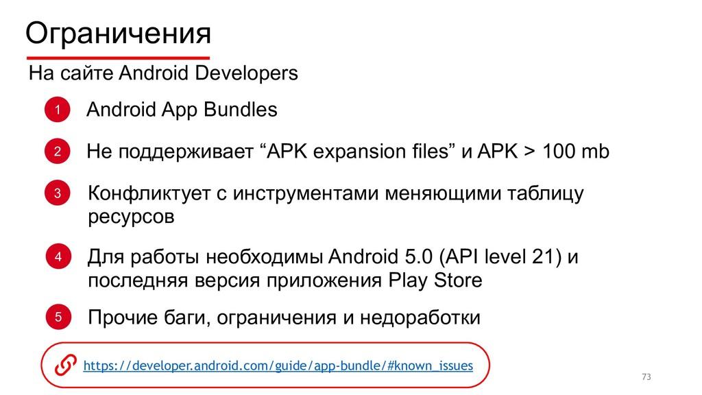 Ограничения 73 1 Android App Bundles 2 Не подде...