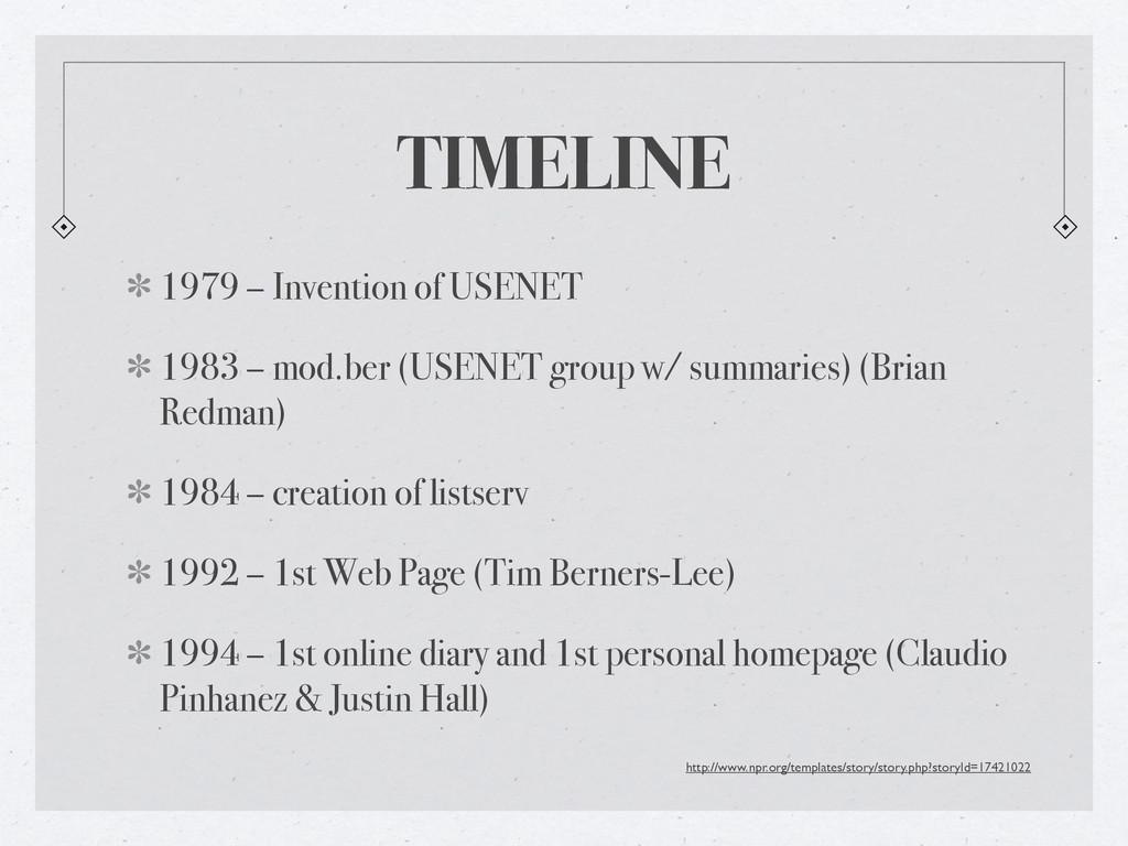 TIMELINE 1979 – Invention of USENET 1983 – mod....