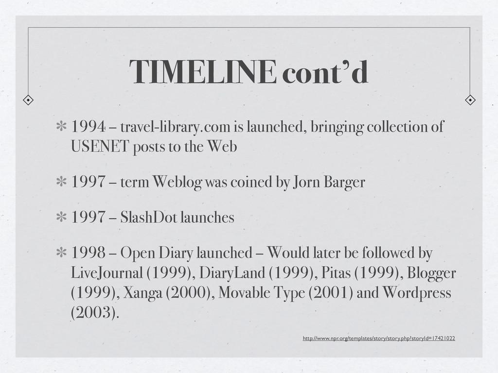 TIMELINE cont'd 1994 – travel-library.com is la...