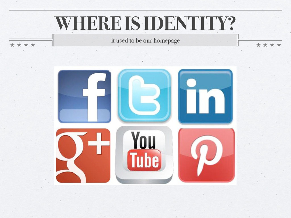 WHERE IS IDENTITY? it used to be our homepage