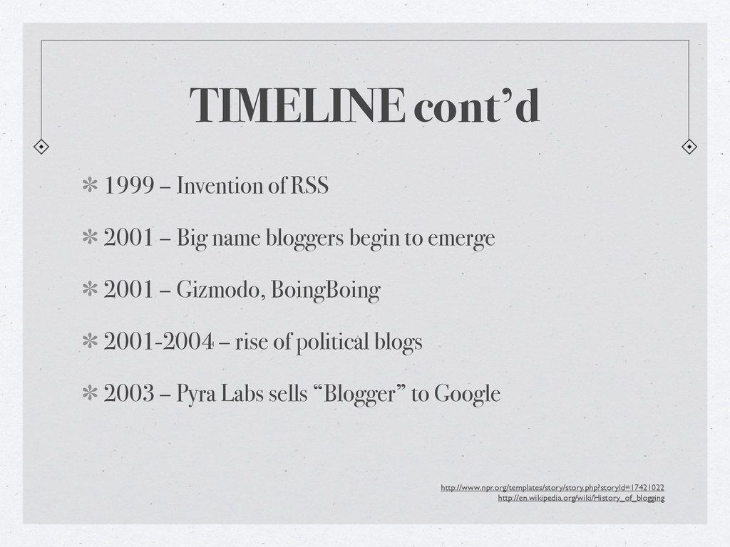 TIMELINE cont'd 1999 – Invention of RSS 2001 – ...