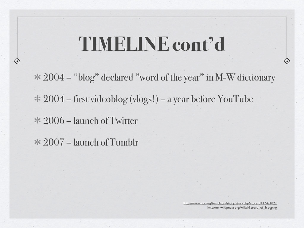 "TIMELINE cont'd 2004 – ""blog"" declared ""word of..."