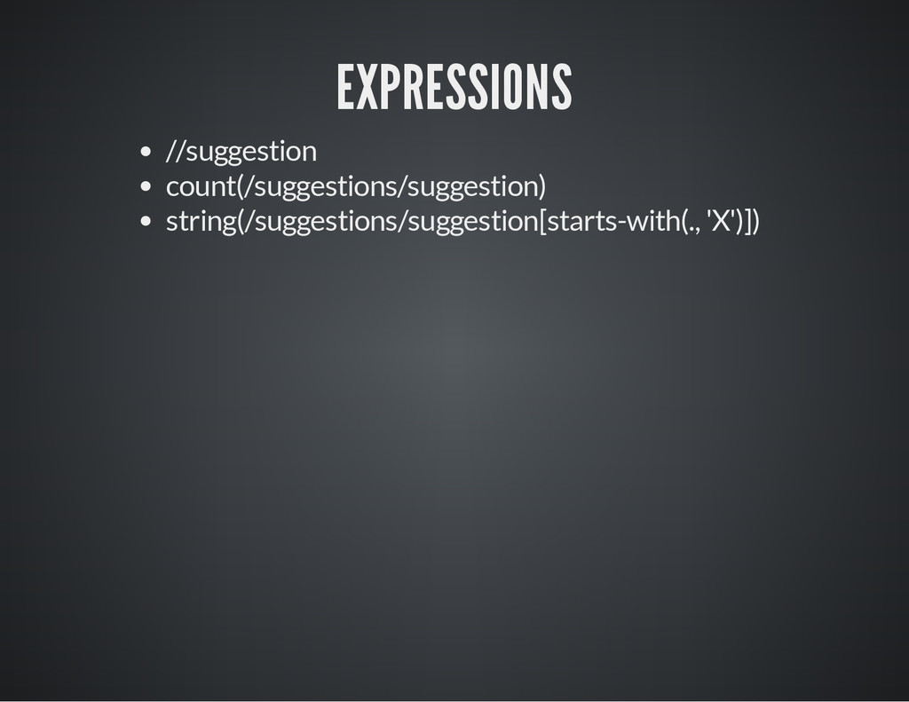EXPRESSIONS //suggestion count(/suggestions/sug...