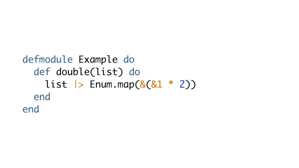 defmodule Example do def double(list) do list |...