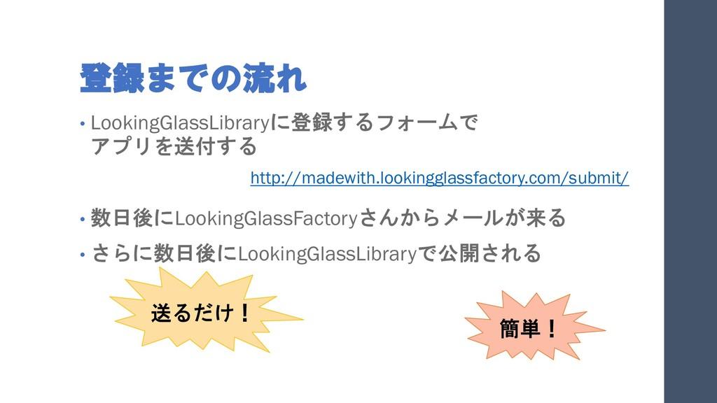 登録までの流れ • LookingGlassLibraryに登録するフォームで アプリを送付す...