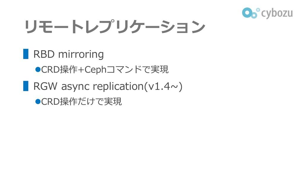 リモートレプリケーション ▌RBD mirroring ⚫CRD操作+Cephコマンドで実現 ...