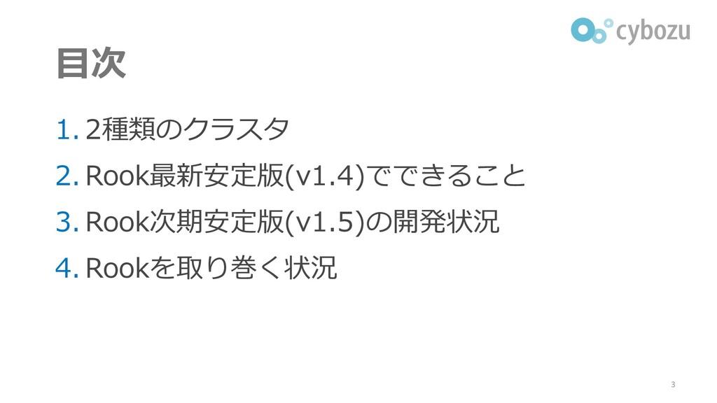 目次 1. 2種類のクラスタ 2. Rook最新安定版(v1.4)でできること 3. Rook...