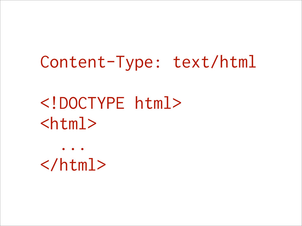 Content-Type: text/html <!DOCTYPE html> <html> ...
