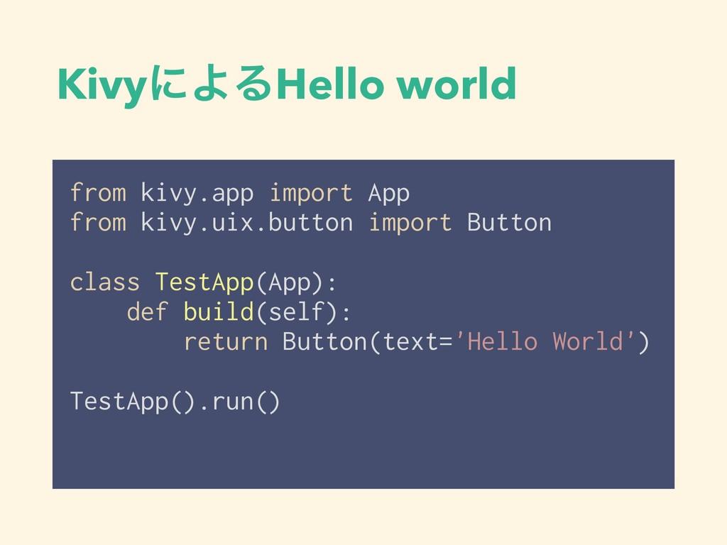 KivyʹΑΔHello world from kivy.app import App fro...