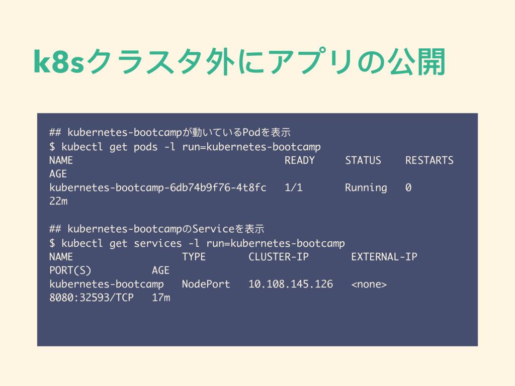 k8sクラスタ外にアプリの公開 ## kubernetes-bootcampが動いているPod...