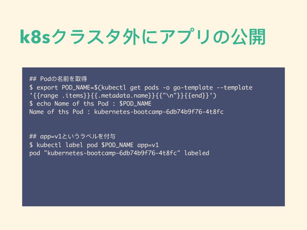 k8sクラスタ外にアプリの公開 ## Podの名前を取得 $ export POD_NAME=...