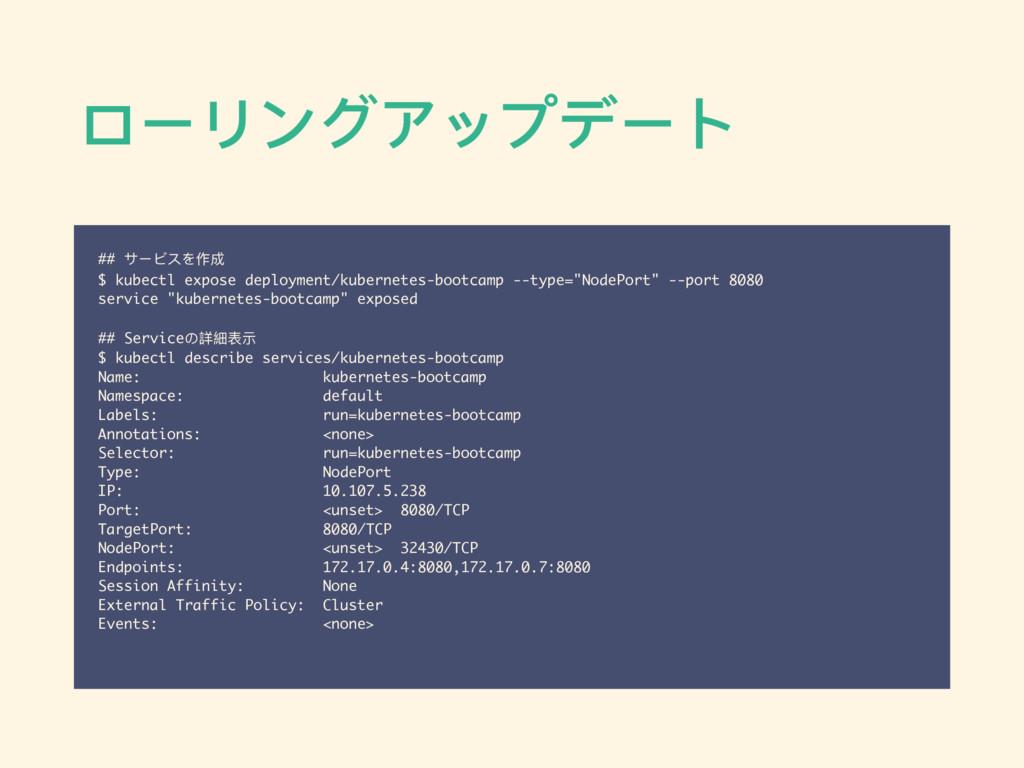ローリングアップデート ## サービスを作成 $ kubectl expose deploym...