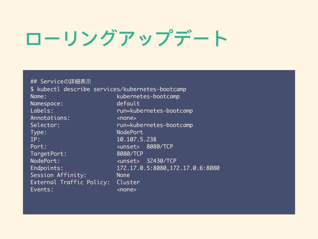 ローリングアップデート ## Serviceの詳細表示 $ kubectl describe ...