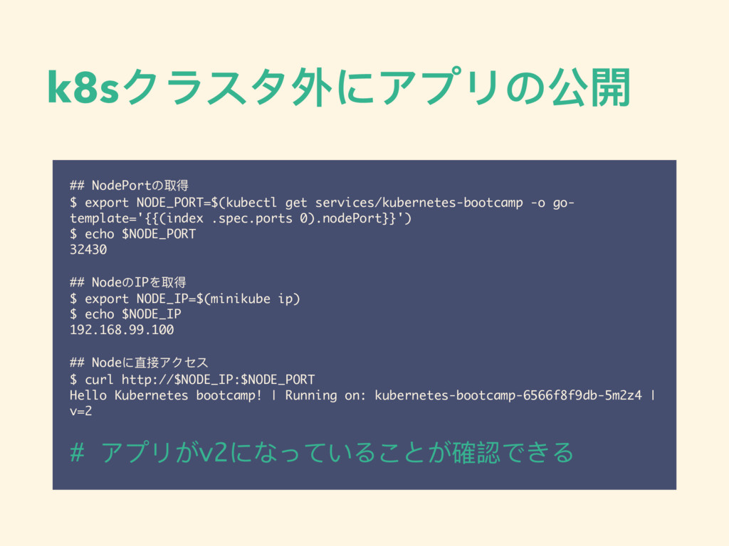 k8sクラスタ外にアプリの公開 ## NodePortの取得 $ export NODE_PO...