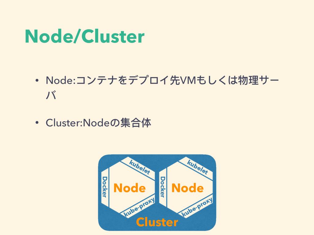 Node/Cluster • Node:コンテナをデプロイ先VMもしくは物理理サー バ • C...