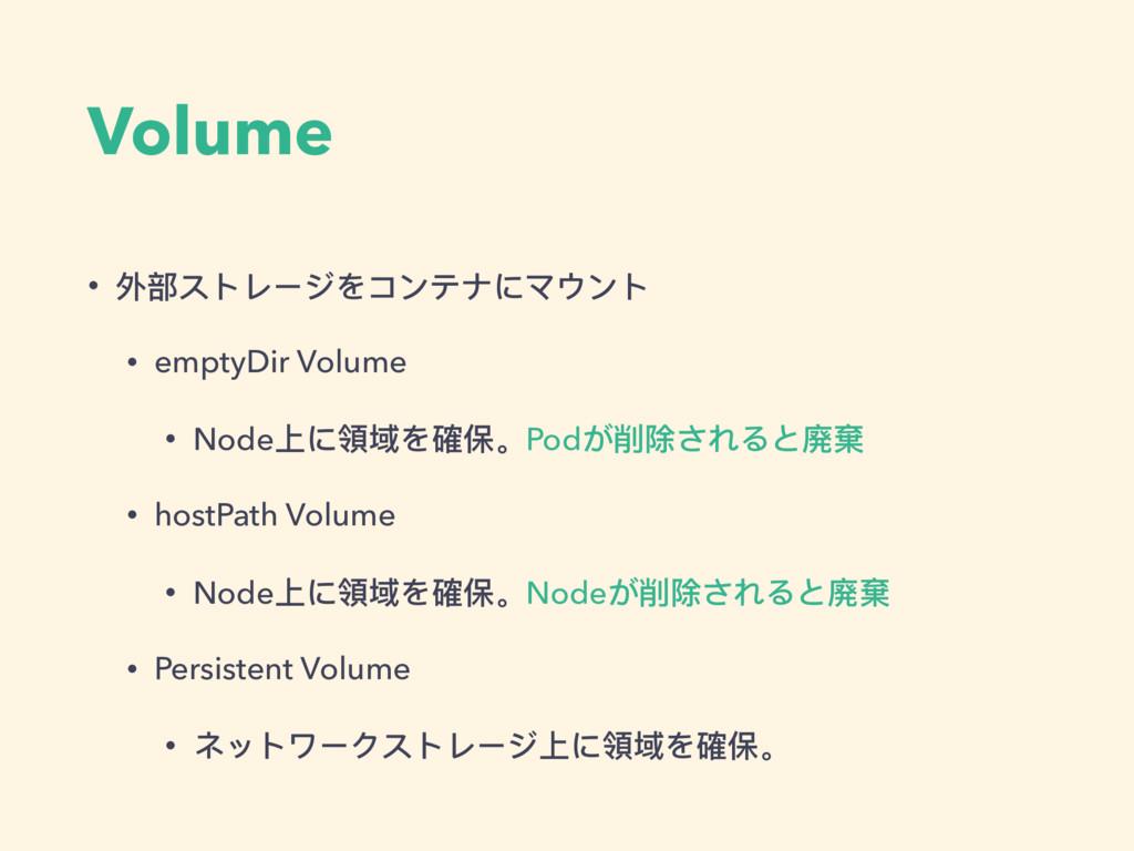 Volume • 外部ストレージをコンテナにマウント • emptyDir Volume • ...