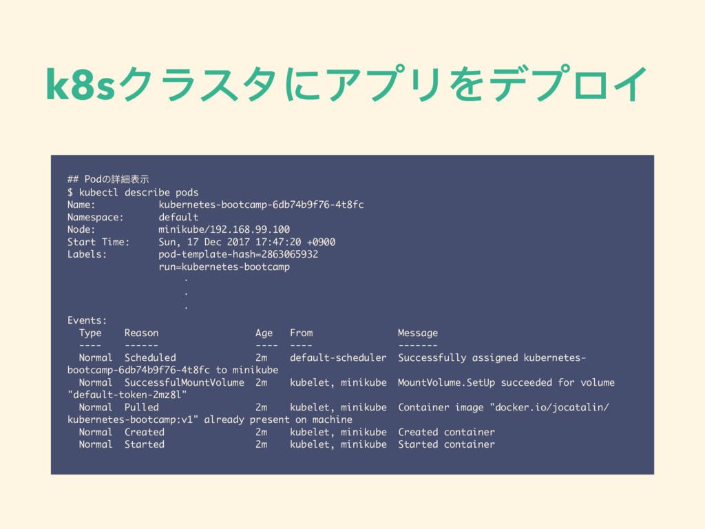 k8sクラスタにアプリをデプロイ ## Podの詳細表示 $ kubectl describe...