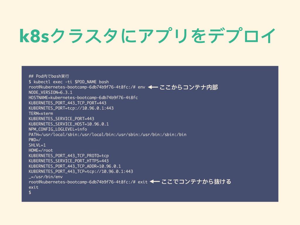 k8sクラスタにアプリをデプロイ ## Pod内でbash実⾏行行 $ kubectl exe...