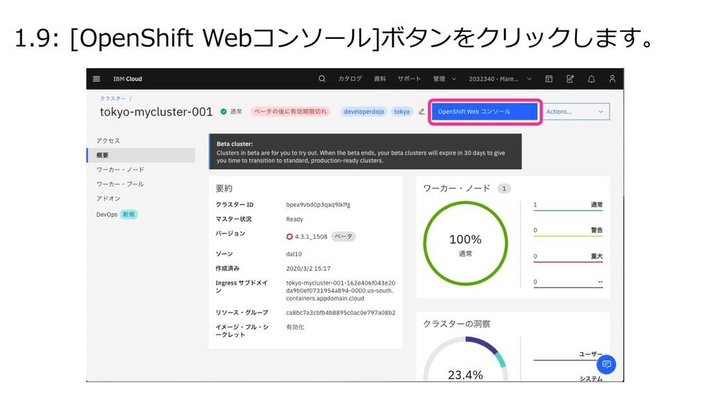 1.9: [OpenShift Webコンソール]ボタンをクリックします。