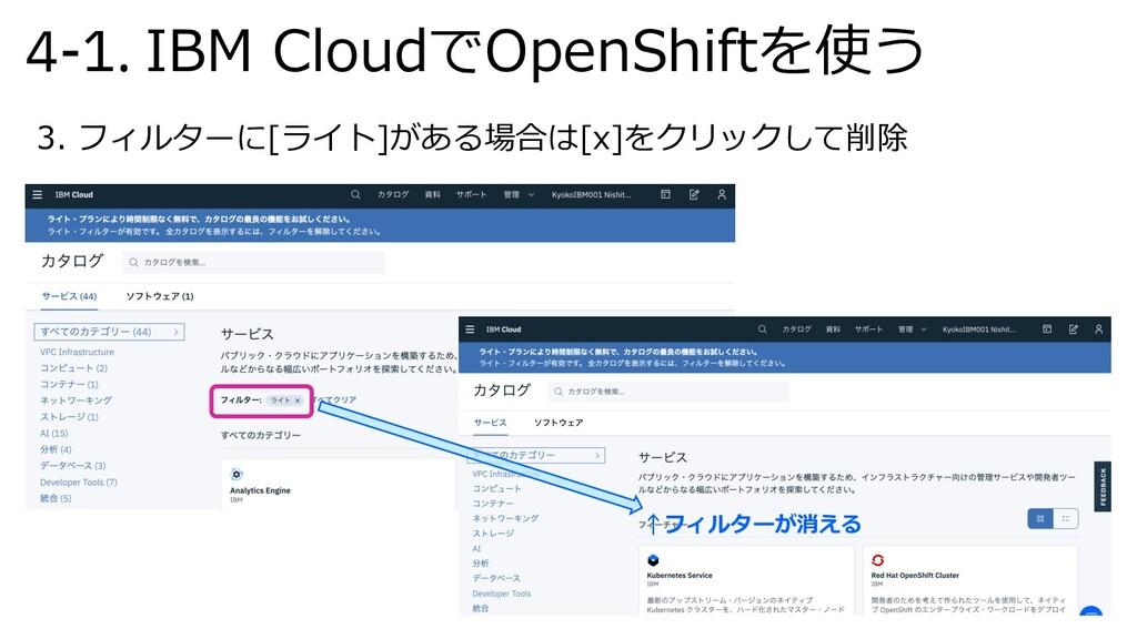 4-1. IBM CloudでOpenShiftを使う 3. フィルターに[ライト]がある場合...