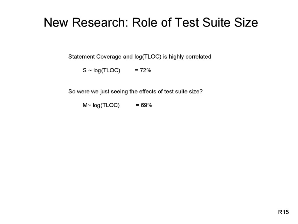 New Research: Role of Test Suite Size Statement...