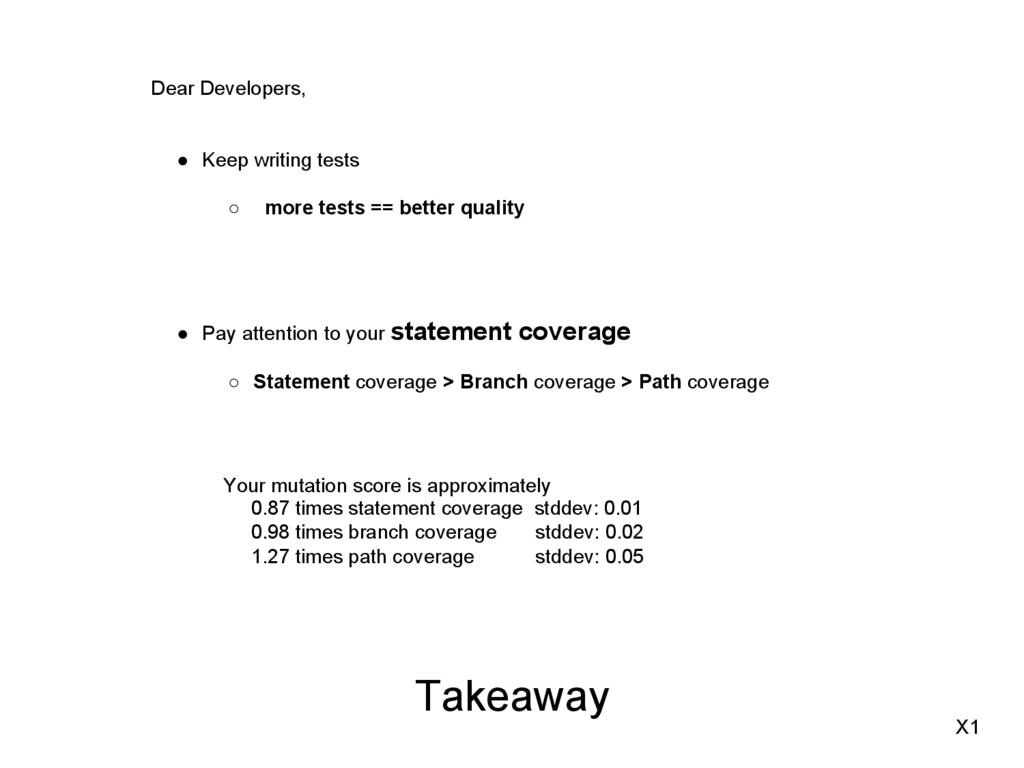 Takeaway Dear Developers, ● Keep writing tests...