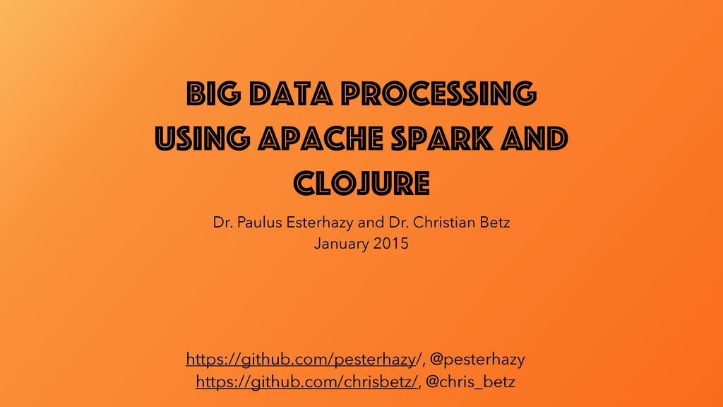 Big Data Processing using Apache Spark and Cloj...