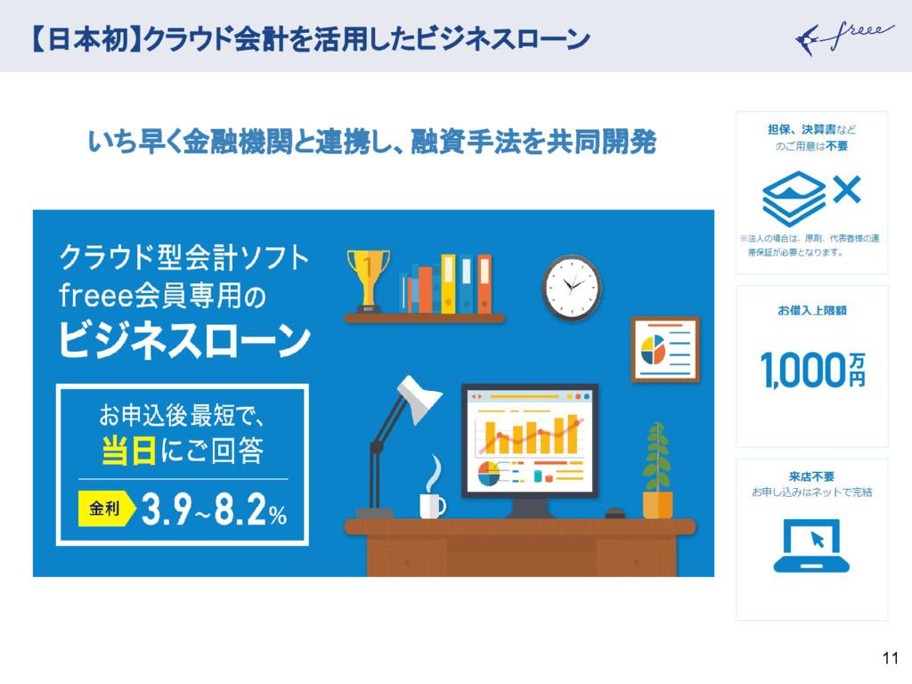 【日本初】クラウド会計を活用したビジネスローン 11 いち早く金融機関と連携し、融資手法を共同...