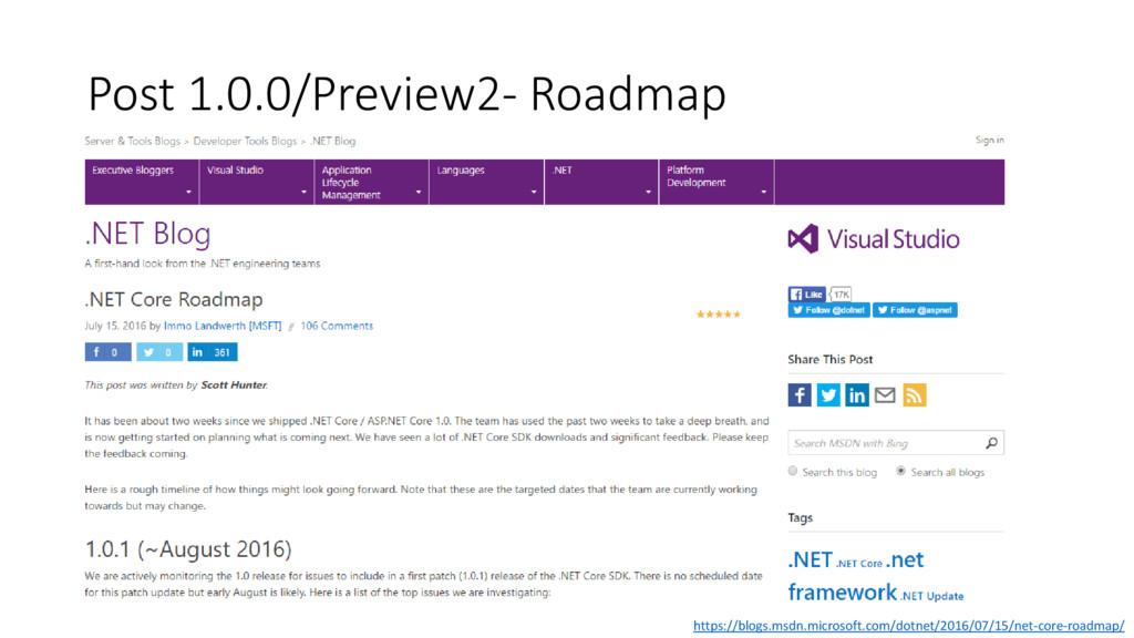 Post 1.0.0/Preview2- Roadmap https://blogs.msdn...