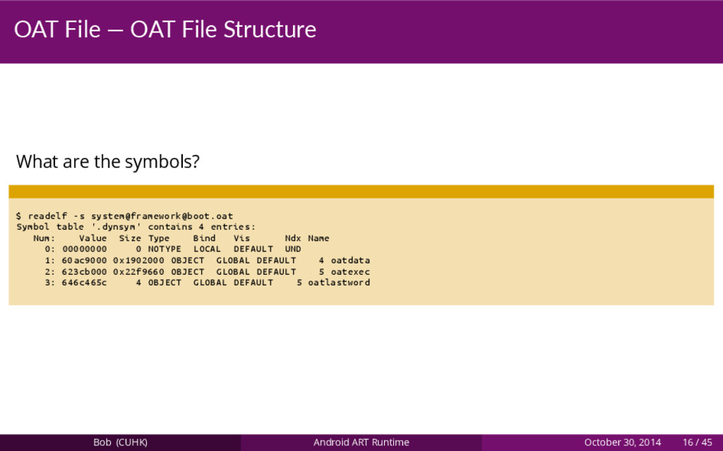 OAT File — OAT File Structure What are the symb...