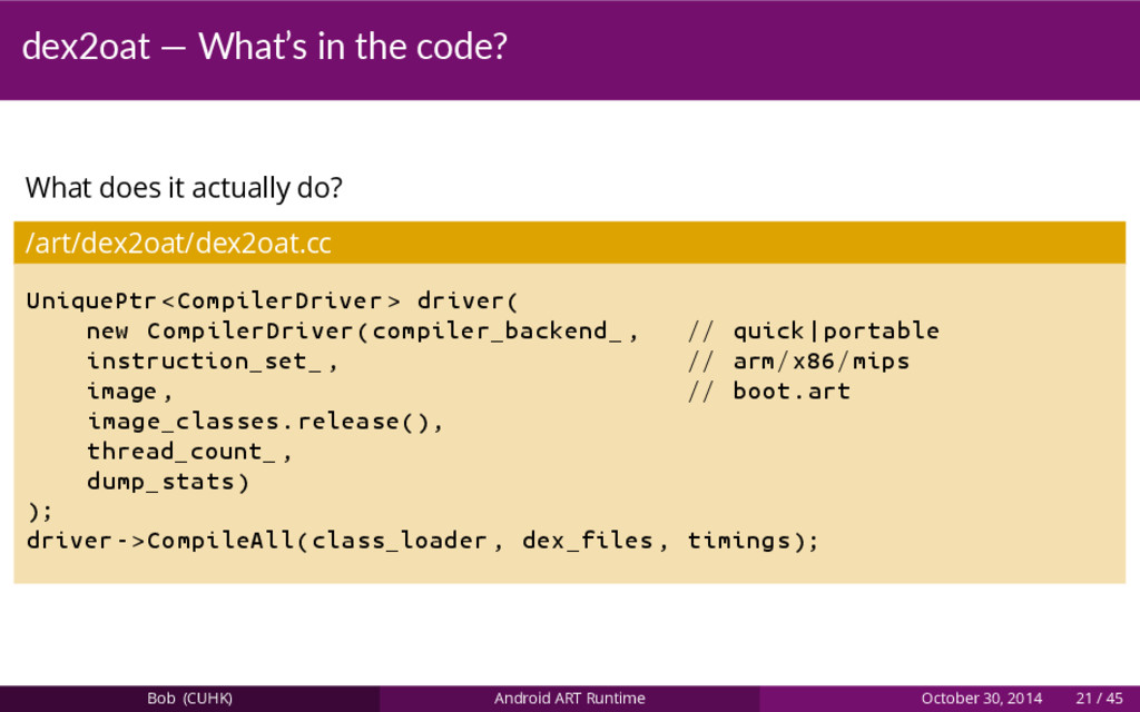 dex2oat — What's in the code? What does it actu...