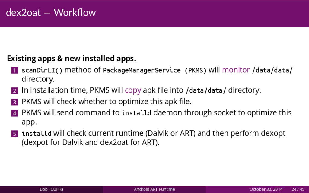 dex2oat — Workflow Existing apps & new installed...