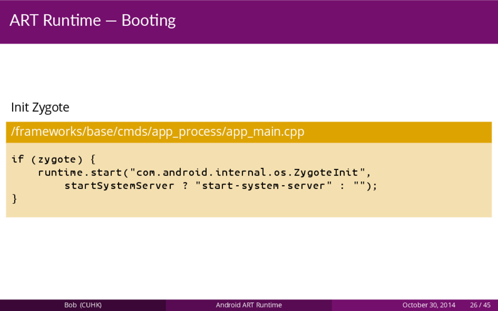 ART Run me — Boo ng Init Zygote /frameworks/bas...