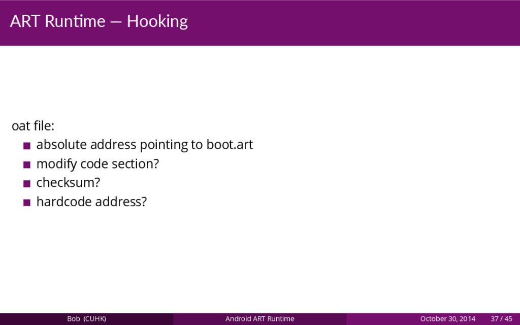 ART Run me — Hooking oat file: absolute address ...