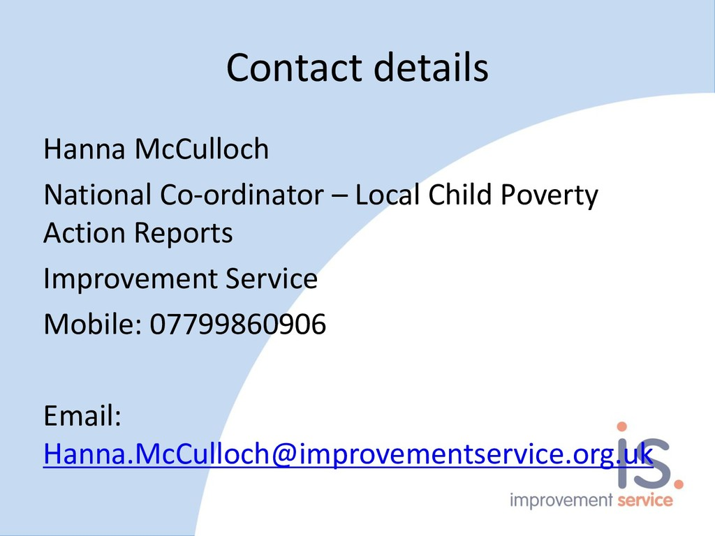 Contact details Hanna McCulloch National Co-ord...