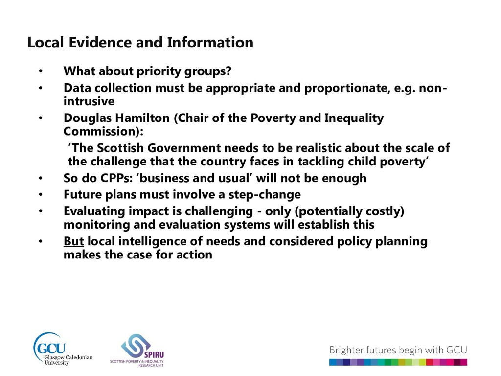 Local Evidence and Information • What about pri...