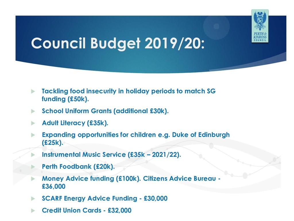 Council Budget 2019/20:  Tackling food insecur...