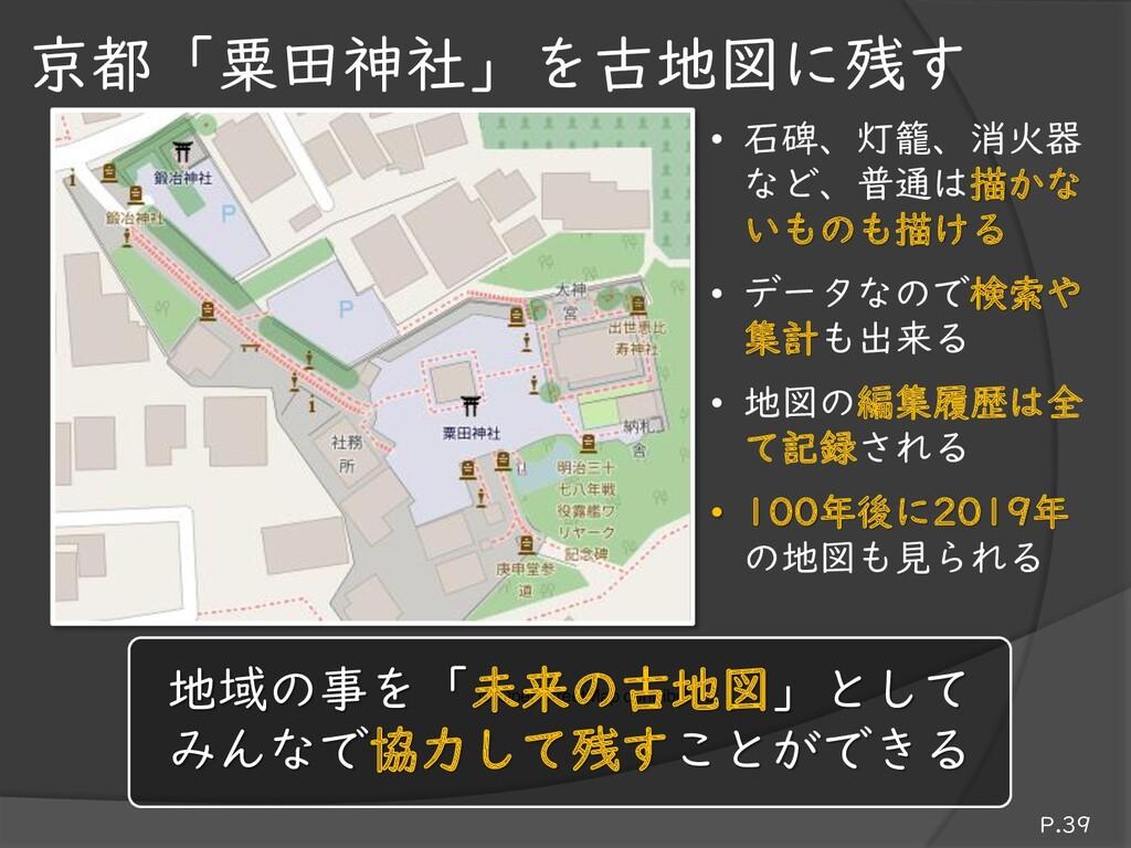 京都「粟田神社」を古地図に残す • 石碑、灯籠、消火器 など、普通は描かな いものも描ける •...