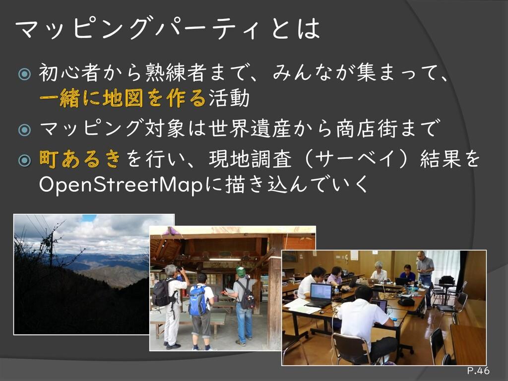 初心者から熟練者まで、みんなが集まって、 一緒に地図を作る活動  マッピング対象は世界遺...