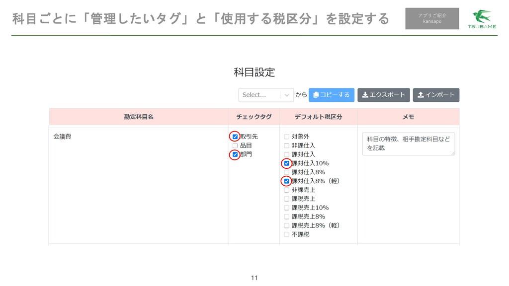 科目ごとに「管理したいタグ」と「使用する税区分」を設定する 11 アプリご紹介 kansapo