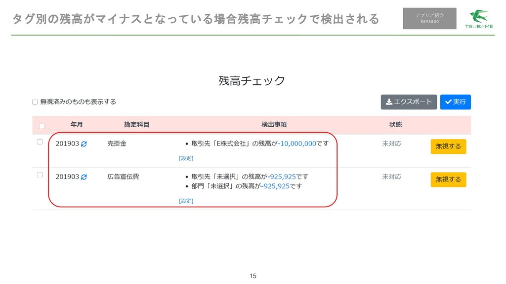 タグ別の残高がマイナスとなっている場合残高チェックで検出される 15 アプリご紹介 kansa...