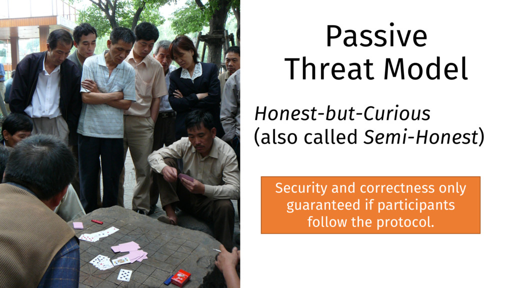 Passive Threat Model Honest-but-Curious (also c...
